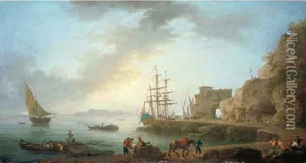 A Mediterranean Port With Fishing Boats, A Dutch Driemaster And Fisherman On A Quay Oil Painting - Claude-joseph Vernet