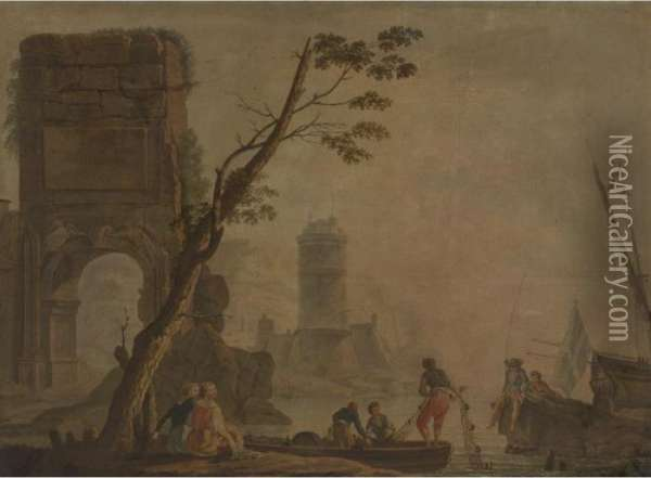 View Of A Port With Fishermen And Lighthouse Oil Painting - Claude-joseph Vernet
