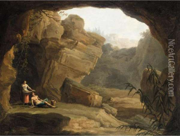 Figures Resting By The Mouth Of A Cave, A Capriccio View Of Tivoli Beyond Oil Painting - Claude-joseph Vernet