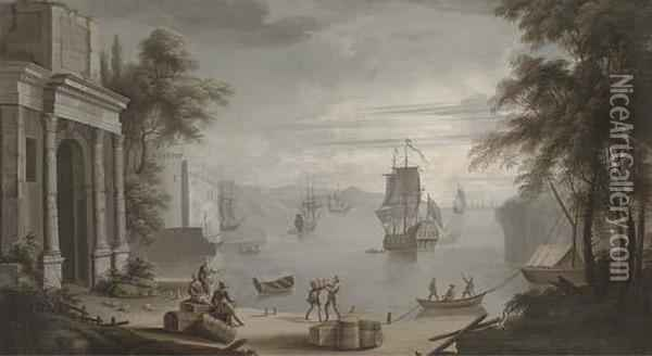 A Mediterranean Coastal Harbour,  A Man'-o-war And Other Shipping With Figures On The Shore By Classical  Buildings Oil Painting - Claude-joseph Vernet
