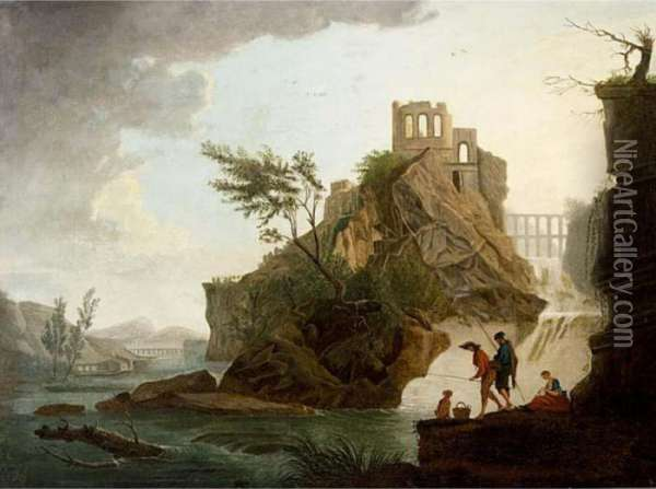 Anglers In A Mountainous River Landscape, A View Of A Ruin On A Hill Top Beyond Oil Painting - Claude-joseph Vernet