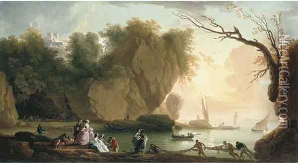 A Coastal Landscape With Elegant Figures And Fishermen, A Fortressand Shipping Beyond Oil Painting - Claude-joseph Vernet