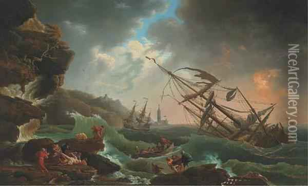 A Mediterranean Coast With A Shipwreck In Stormy Seas, Castaways Inthe Foreground Oil Painting - Claude-joseph Vernet