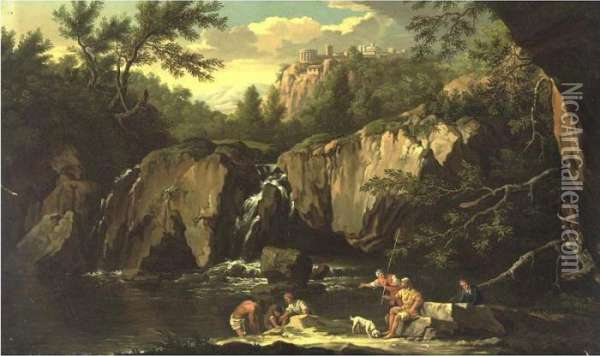 View Of Tivoli With Figures In The Foreground Oil Painting - Claude-joseph Vernet