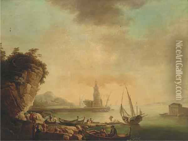 A Mediterranean Harbour At Sunset With Stevedores On The Quay Oil Painting - Claude-joseph Vernet