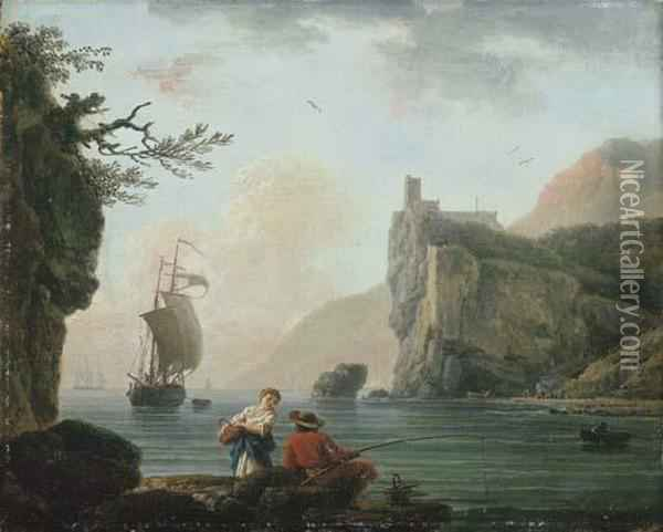 A Rocky Coastal Landscape With A Fisherman Talking To A Peasantgirl Oil Painting - Claude-joseph Vernet