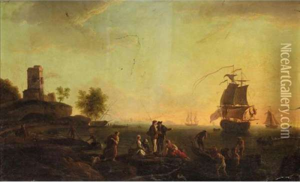 A Mediterranean Harbour Scene At  Dusk With Figures On The Shore, A British Ship At Anchor Beyond Oil Painting - Claude-joseph Vernet