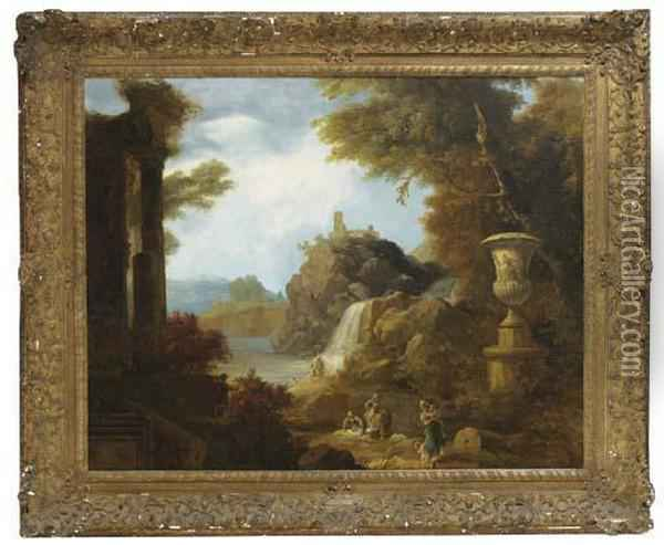 An Architectural Capriccio In A Landscape With Washerwomen By A River Oil Painting - Claude-joseph Vernet