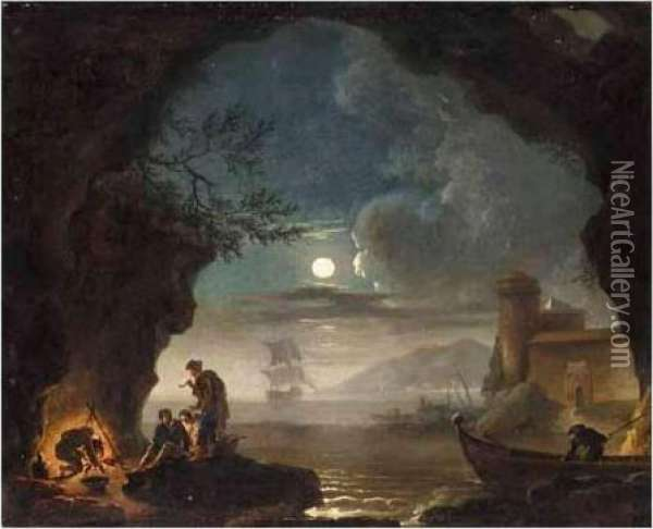 A Moonlit Coastal Landscape With Figures Cooking Over A Fire In The Foreground Oil Painting - Claude-joseph Vernet
