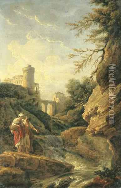 Two Female Peasants By A Waterfall, A Town And Aqueduct Beyond Oil Painting - Claude-joseph Vernet