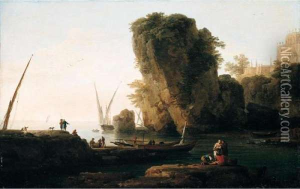 A Cove On A Rocky Mediterranean Coast, With Small Vessels And Fishermen Oil Painting - Claude-joseph Vernet