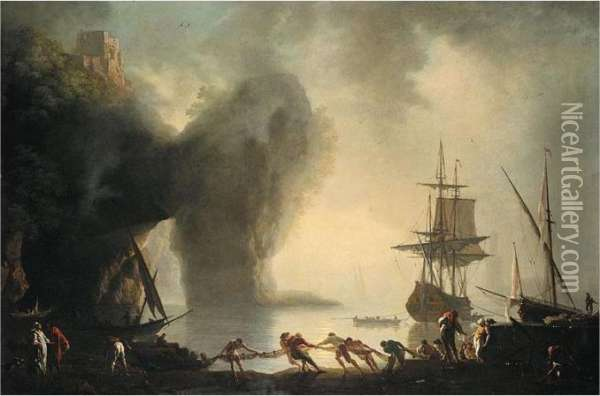 A View Of Posillipo, Near Naples, In The Morning Fog Oil Painting - Claude-joseph Vernet