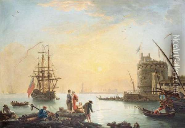 A View Of A Mediterrean Harbour Oil Painting - Claude-joseph Vernet
