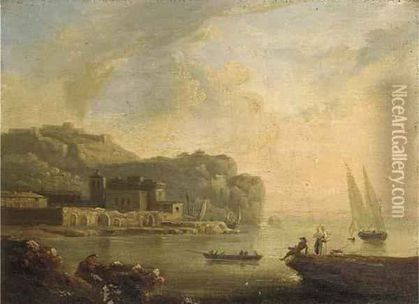 A Mediterranean Coastal Inlet With Fisherfolk In A Boat Oil Painting - Claude-joseph Vernet