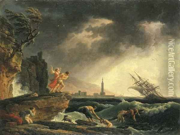 A Stormy Coastal Seascape With Survivors From A Shipwreck On A Rocky Outcrop Oil Painting - Claude-joseph Vernet