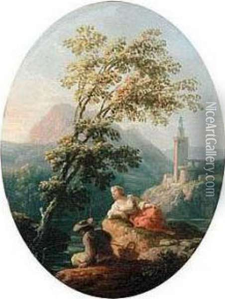 River Landscape With A Man And Woman Fishing, A Church Beyond Oil Painting - Claude-joseph Vernet
