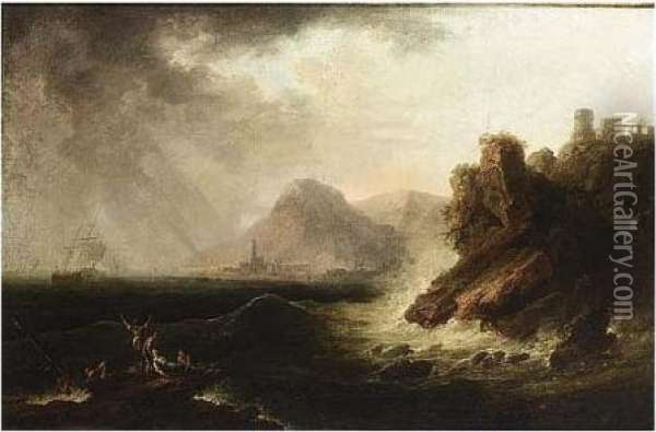 Shipwrecking On A Rocky Coast Oil Painting - Claude-joseph Vernet