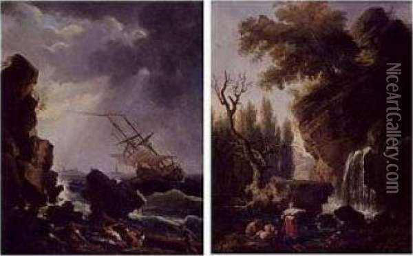 A Ship On A Stormy Sea And A View Of A Waterfall: A Pair Of Paintings Oil Painting - Claude-joseph Vernet
