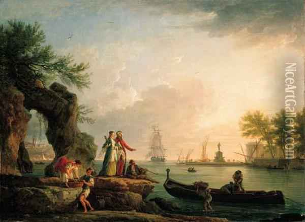 A Mediterranean Port At Sunset  With A Levantine Couple On An Outcrop And Fishermen Unloading Their  Catch Oil Painting - Claude-joseph Vernet