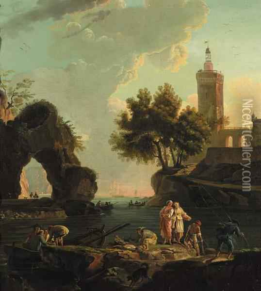 Fishermen Unloading Cargo On A 