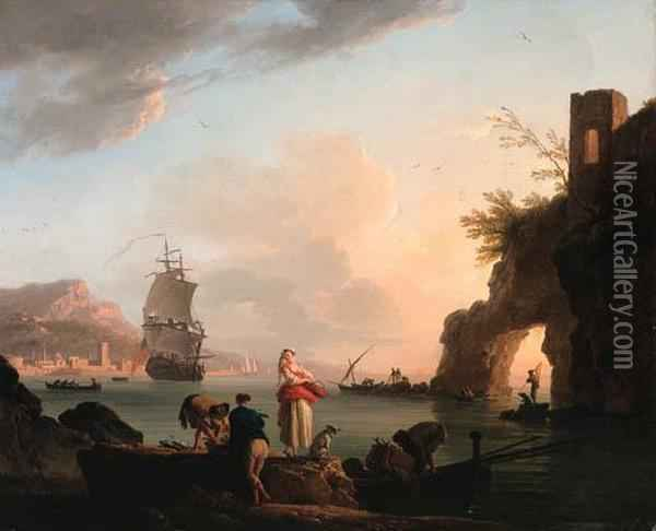 La Peche Heureuse: A  Mediterranean Coast At Sunset With Fisherfolk Unloading A Catch Near A  Natural Arch, A Frigate Offshore, And A City Beyond Oil Painting - Claude-joseph Vernet