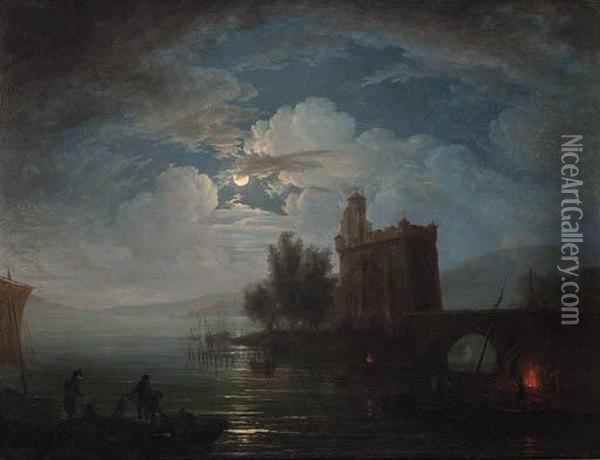 Fisherfolk On The Shore Of A Lake By Moonlight, A Castlebeyond Oil Painting - Claude-joseph Vernet