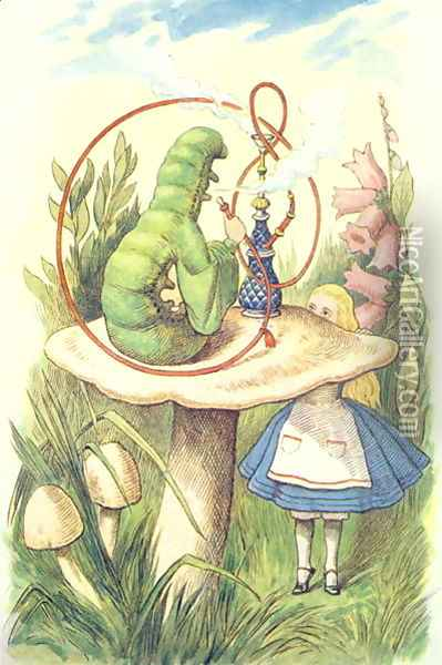 Alice Meets the Caterpillar, illustration from Alice in Wonderland by Lewis Carroll 1832-9 Oil Painting - John Tenniel