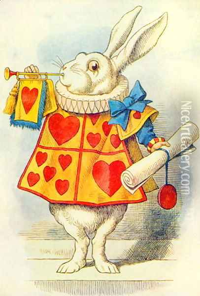 The White Rabbit, illustration from Alice in Wonderland by Lewis Carroll 1832-9 Oil Painting - John Tenniel