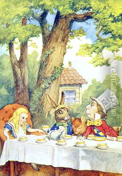 The Mad Hatters Tea Party, illustration from Alice in Wonderland by Lewis Carroll 1832-9 Oil Painting - John Tenniel