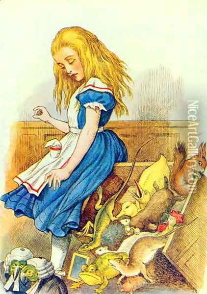 Alice Upsets the Jury-Box, illustration from Alice in Wonderland by Lewis Carroll 1832-9 Oil Painting - John Tenniel