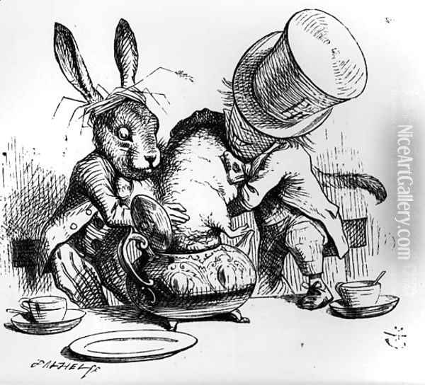 The Mad Hatter and the March Hare putting the Dormouse in the Teapot, illustration from Alices Adventures in Wonderland, by Lewis Carroll, 1865 Oil Painting - John Tenniel