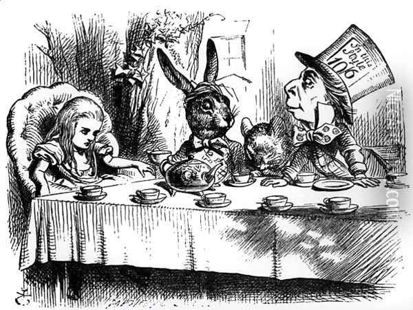 The Mad Hatters Tea Party, illustration from Alices Adventures in Wonderland, by Lewis Carroll, 1865 Oil Painting - John Tenniel