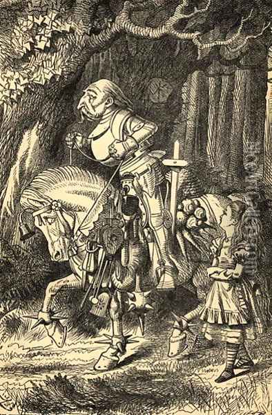 Alice and the White Knight, illustration from Alice in Wonderland by Lewis Carroll 1832-98 first published 1865 Oil Painting - John Tenniel