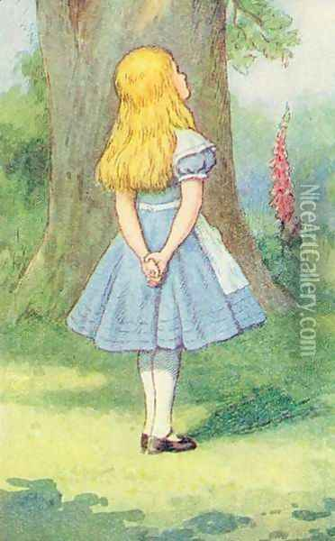 Alice and the Cheshire Cat, illustration from Alice in Wonderland by Lewis Carroll 1832-9 Oil Painting - John Tenniel