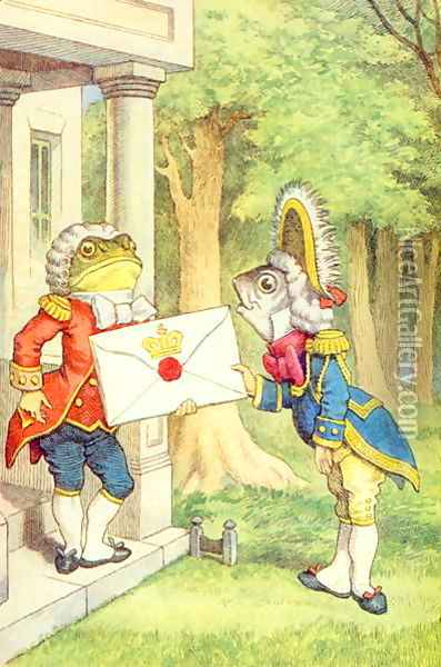 The Fish-Footman Delivering an Invitation to the Duchess, illustration from Alice in Wonderland by Lewis Carroll 1832-9 Oil Painting - John Tenniel