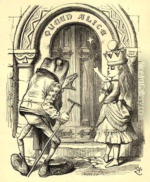 Alice and the Frog, illustration from Through the Looking Glass by Lewis Carroll 1832-98 first published 1871 Oil Painting - John Tenniel