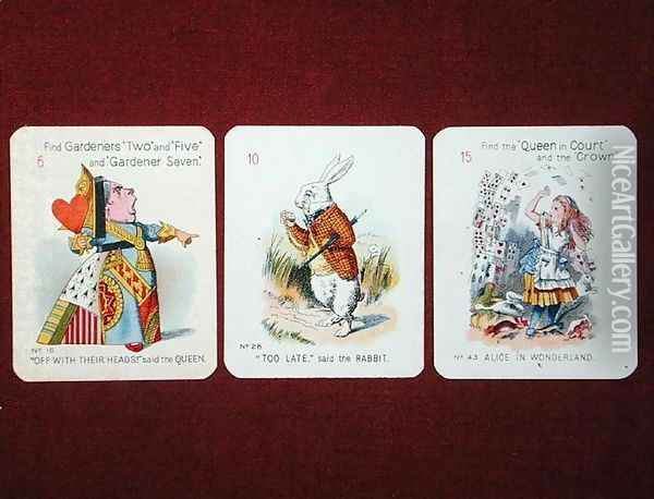 Three Happy Family cards depicting characters from Alice in Wonderland by Lewis Carroll 1832-98 adapted by Emily Gertrude Thomson d.1932 early 20th century Oil Painting - John Tenniel
