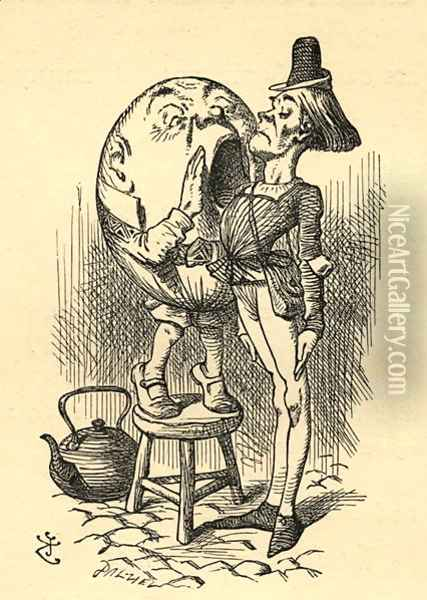 Humpty Dumpty, illustration from Through the Looking Glass by Lewis Carroll 1832-98 first published 1871 Oil Painting - John Tenniel