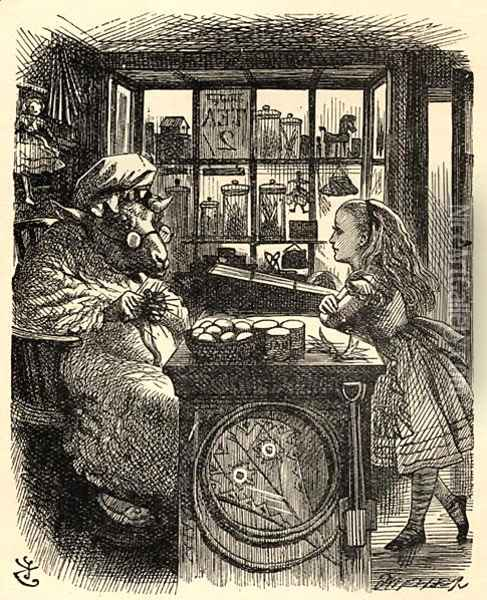 Alice and the Knitting Sheep, illustration from Through the Looking Glass by Lewis Carroll 1832-98 first published 1871 Oil Painting - John Tenniel