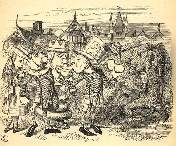 The Mad Hatter, Hare, the King and Alice, illustration from Through the Looking Glass by Lewis Carroll 1832-98 first published 1871 Oil Painting - John Tenniel