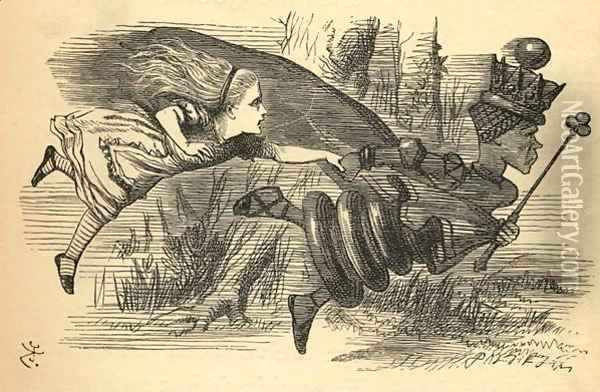 Alice and the Red Queen, illustration from Through the Looking Glass by Lewis Carroll 1832-98 first published 1871 Oil Painting - John Tenniel
