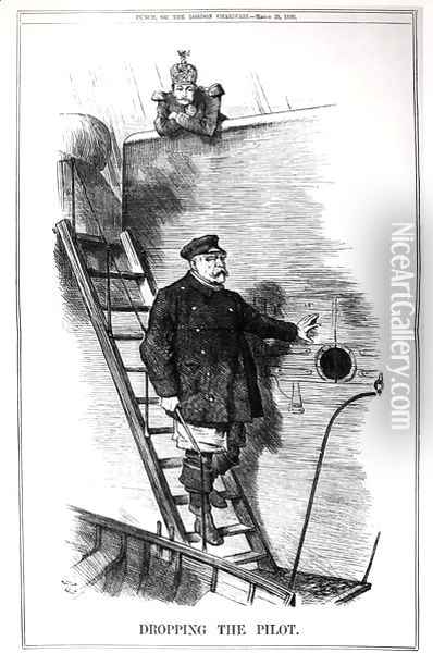 Dropping the Pilot, caricature of Otto von Bismarck 1815-98 and Kaiser Wilhelm II 1797-1888 from Punch, or The London Charivari, 29th March 1890 Oil Painting - John Tenniel