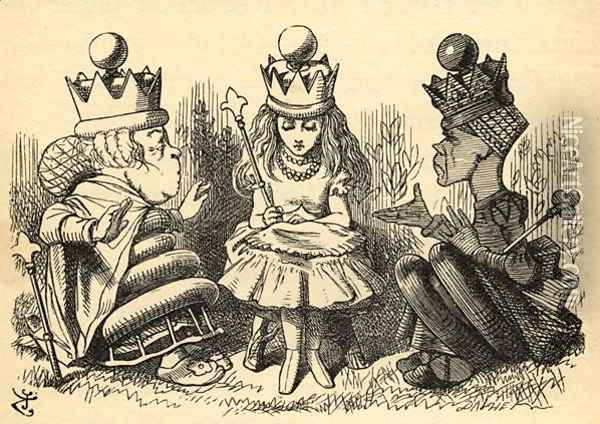 Manners and Lessons, illustration from Through the Looking Glass by Lewis Carroll 1832-98 first published 1871 Oil Painting - John Tenniel
