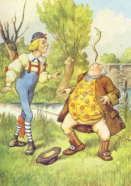 Father William Balancing an Eel on his Nose, illustration from Alice in Wonderland by Lewis Carroll 1832-9 Oil Painting - John Tenniel