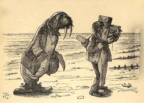 The Walrus and the Carpenter, illustration from Through the Looking Glass by Lewis Carroll 1832-98 first published 1871 Oil Painting - John Tenniel