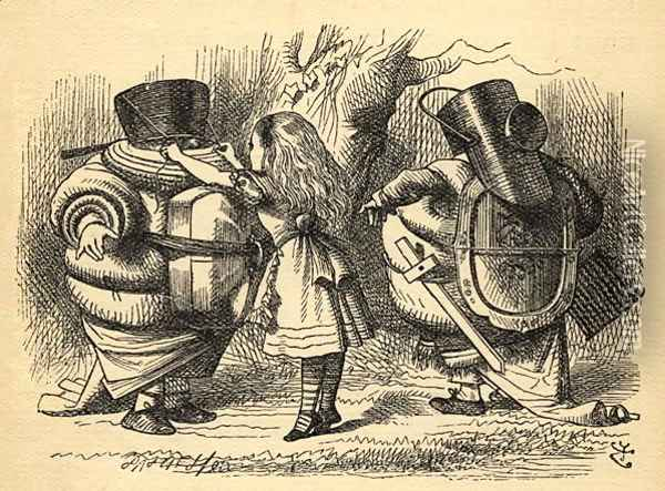 The Battle over the Rattle, illustration from Through the Looking Glass by Lewis Carroll 1832-98 first published 1871 Oil Painting - John Tenniel