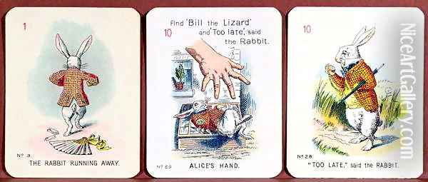 Three Happy Family cards depicting characters from Alice in Wonderland by Lewis Carroll (1832-98) adapted by Emily Gertrude Thomson d.1932 early 20th century Oil Painting - John Tenniel