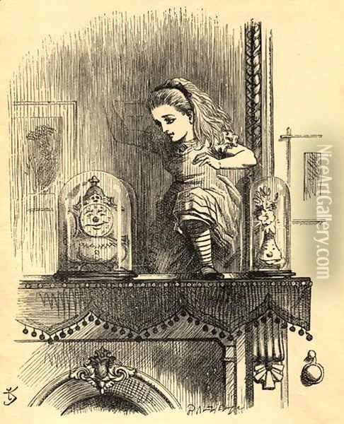 Alice in the Looking Glass House, illustration from Through the Looking Glass by Lewis Carroll 1832-98 first published 1871 Oil Painting - John Tenniel