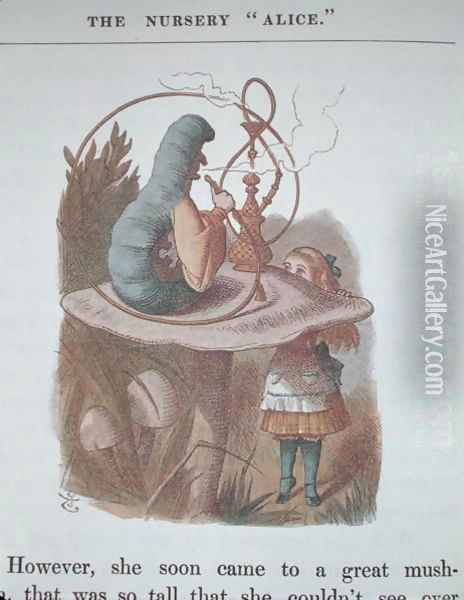 Alice and the Caterpillar, illustration from Alice in Wonderland by Lewis Carroll 1832-98 published by Macmillan, New York, 1866 Oil Painting - John Tenniel
