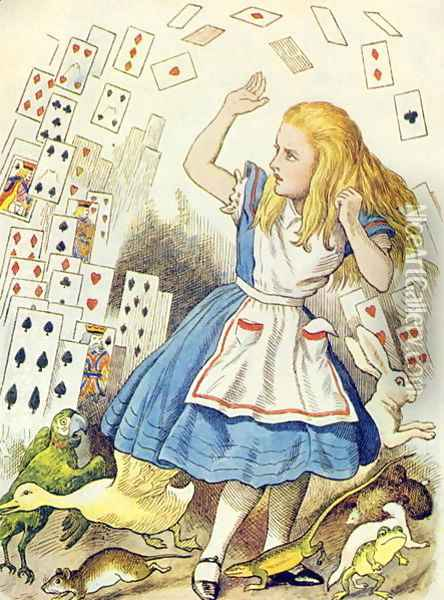 The Shower of Cards, illustration from Alice in Wonderland by Lewis Carroll 1832-98 Oil Painting - John Tenniel